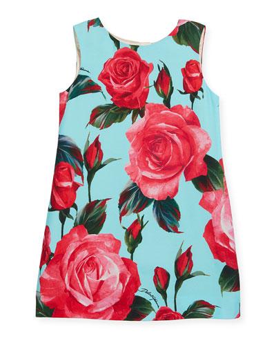 Sleeveless A-Line Rose-Print Dress, Size 8-12
