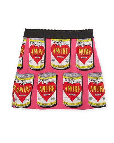 Amore Soup Silk-Stretch Skirt, Size 8-12