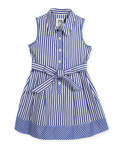 Sleeveless Striped Shirt Dress, Size 4-7