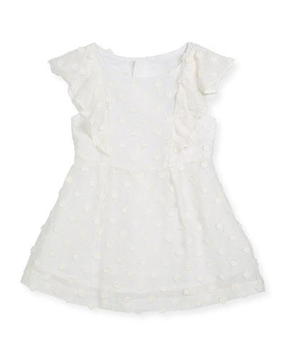 Daisy-Embroidery Ruffle Dress, Size 8-16