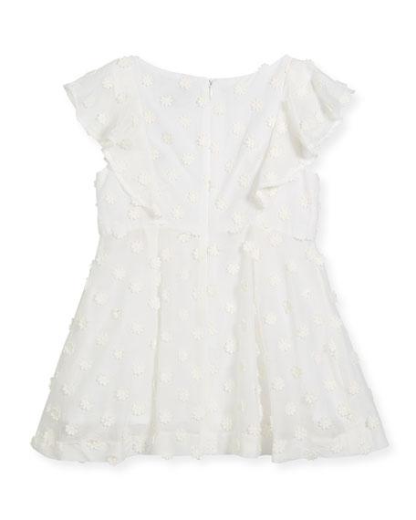 Daisy-Embroidery Ruffle Dress, Size 4-7