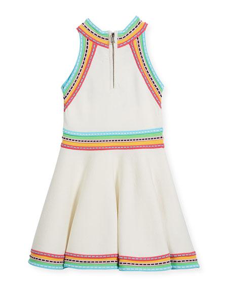 Sleeveless Knit Flare Dress w/ Woven Trim, Size 4-7