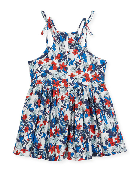 Hibiscus-Print Tank Dress, Size 8-16