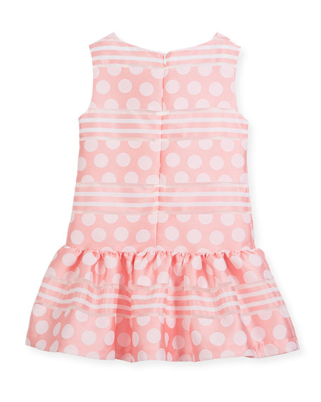 Polka-Dot & Stripe Drop-Waist Sleeveless Dress, Size 2-4