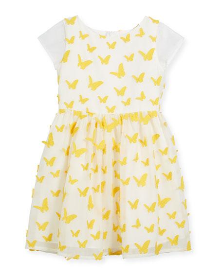 Butterfly Dress w/ Short Sheer Sleeves, Size 5-8