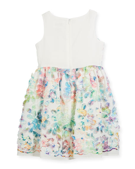 Watercolor Floral Sleeveless Dress, Size 10-12