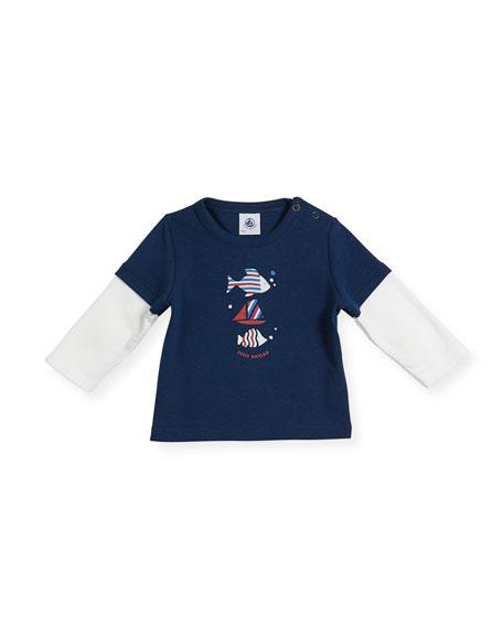 Petit Bateau Long-Sleeve Illusion Fish T-Shirt, Size 6-36