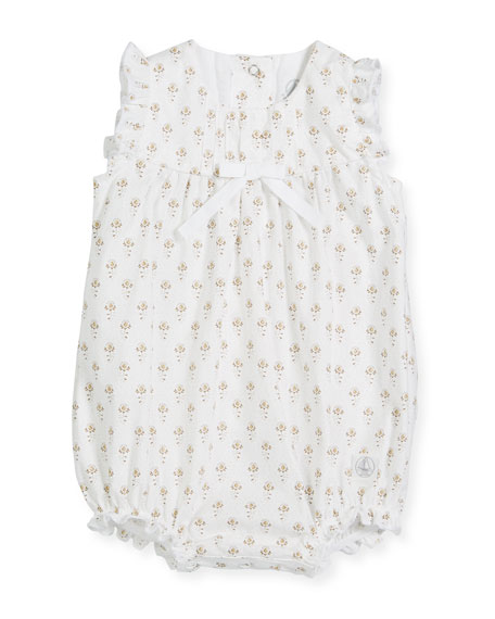 Ruffle-Sleeve Floral Bubble Romper, Size 1-12 Months