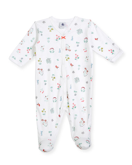 Petit Bateau Flower & Animal-Print Footie Pajamas, Size