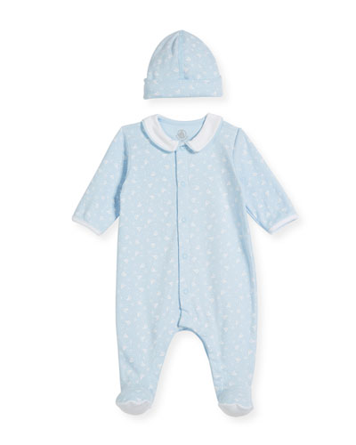Sailboat-Print Collared Footed Coverall w/ Baby Hat, Size Newborn-9 Months