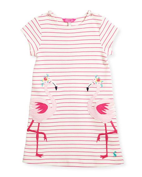 Striped Flamingo Cotton Dress, Size 3-6