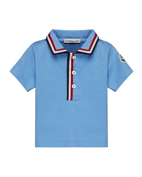 Moncler Short-Sleeve Jersey Polo Shirt w/ Flag Trim,