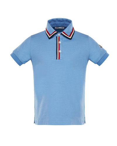 Short-Sleeve Jersey Polo Shirt w/ Flag Trim, Size 8-14