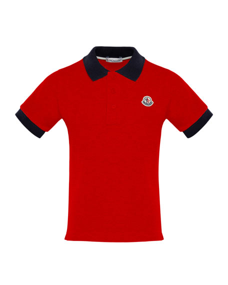 Moncler Short-Sleeve Polo Shirt w/ Contrast Collar &