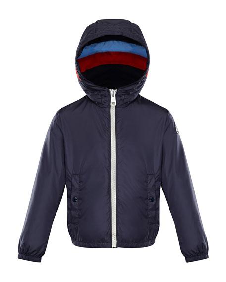Moncler Camarsac Lightweight Down Jacket w/ Colorblock Hood,