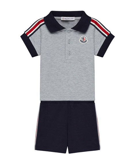 Moncler Short-Sleeve Polo w/ Shorts, Size 12M-3T