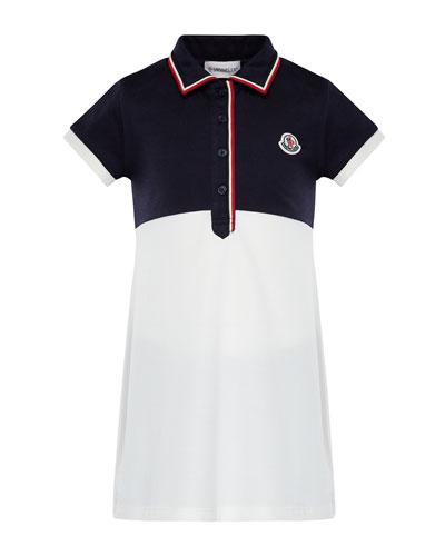 Two-Tone Short-Sleeve Polo Dress w/ Flag Trim, Size 8-14