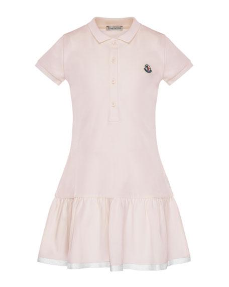 Moncler Short-Sleeve Polo Dress w/ Grosgrain Hem, Size
