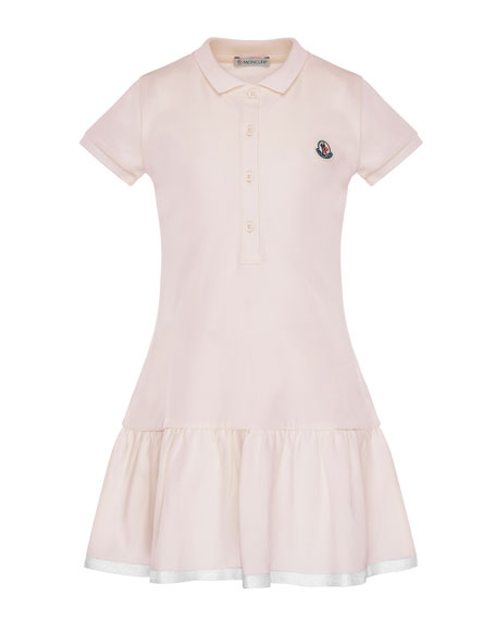 Moncler Short-Sleeve Polo Dress w/ Grosgrain Hem, Size