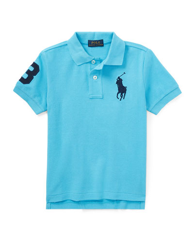Mesh Knit Polo Shirt w/ Logo Embroidery, Margie Blue, Size 2-4