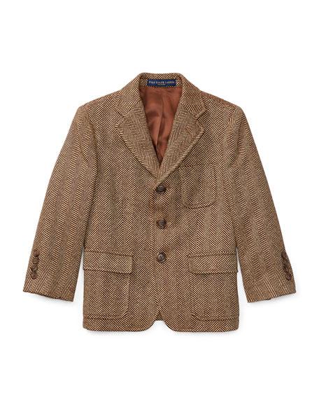Wool-Linen Princeton Herringbone Blazer, Size 2-3
