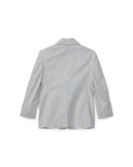 Seersucker Cotton Blazer, Size 4-7