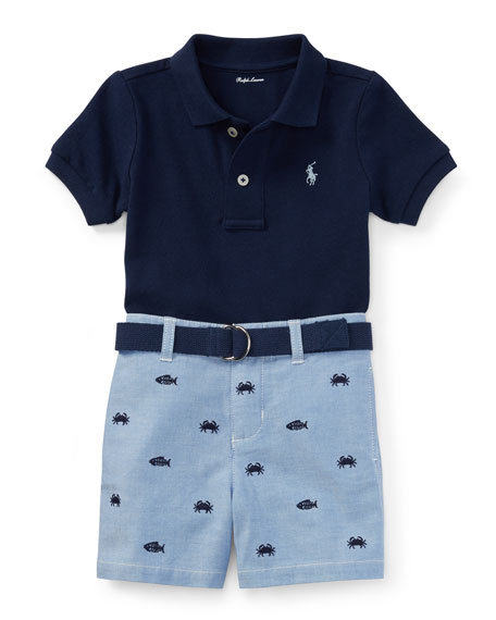 Basic Mesh Polo Shirt w/ Embroidered Shorts, Size 3-12 Months