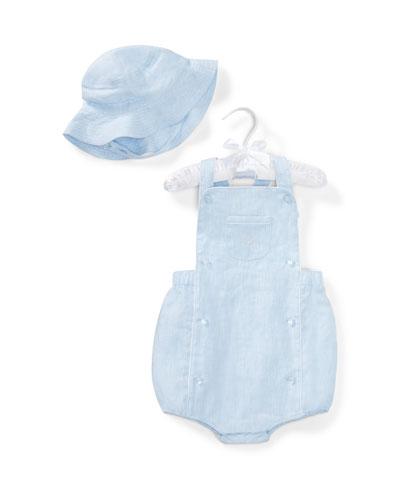 Linen Romper w/ Matching Hat, Blue, Size 6-24 Months