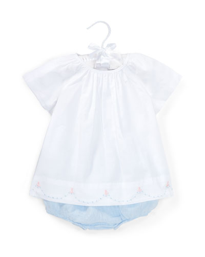 Batiste Embroidery Blouse w/ Linen Bloomers, Size 6-24 Months