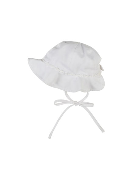 Florence Eiseman Fine-Wale Pique Hat with Bow Trim,