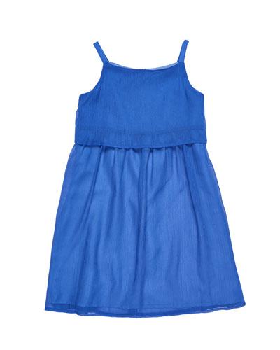 Solid Crinkle Chiffon Dress, Size 7-14