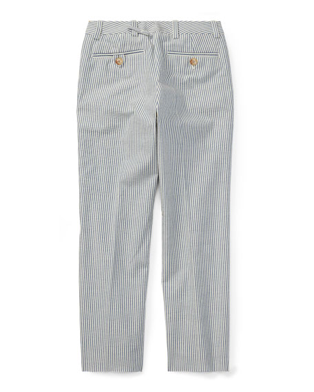 Woodsman Striped Seersucker Pants, Blue, Size 4-7