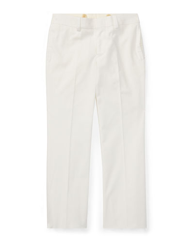 Woodsman Pleated Cotton-Blend Pants, White, Size 2-3