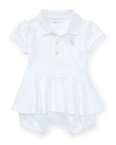 Mesh Peplum Polo Play Dress, White, Size 3-18 Months