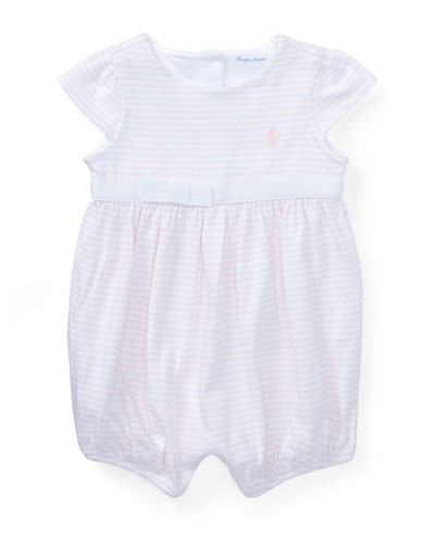 Jersey Stripe Cap-Sleeve Playsuit, Size 3-18 Months