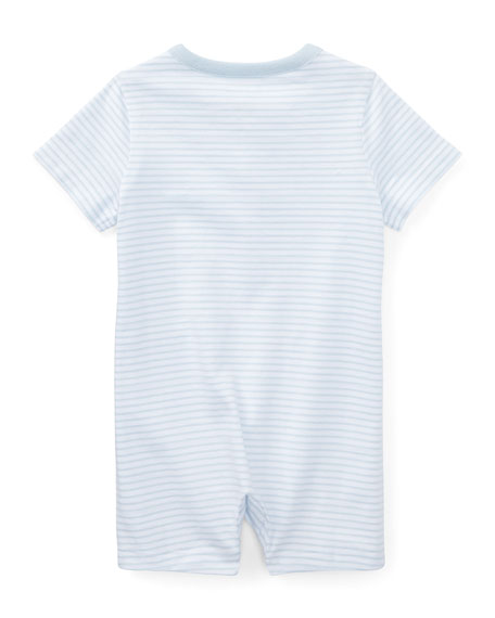 Striped Jersey Cotton Shortall, Blue, Size 3-18 Months