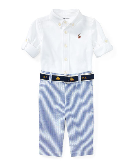 Oxford Mesh Button-Down Shirt w/ Seersucker Pants, Size 9-24 Months