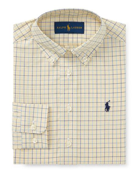 Poplin Tattersall Collared Dress Shirt, Size 4-7
