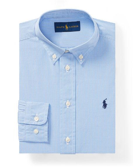 Poplin Check Collared Dress Shirt, Blue, Size 2-3