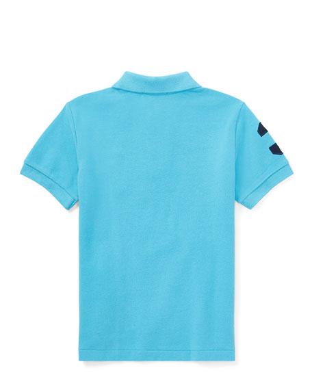 Mesh Knit Polo Shirt w/ Logo Embroidery, Blue, Size 5-7