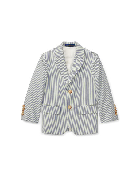 Seersucker Cotton Blazer, Size 2-3