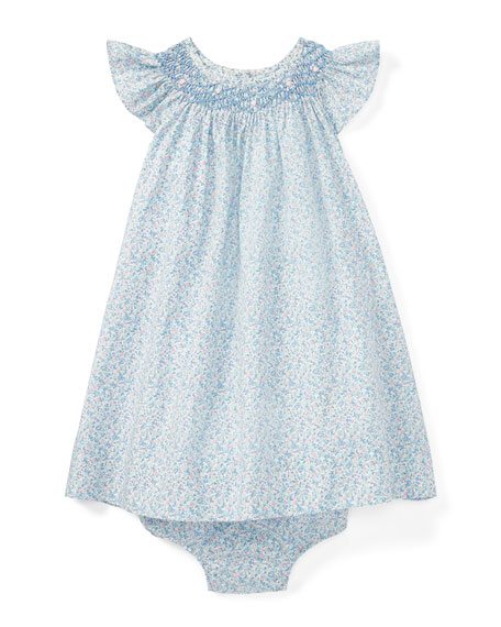 Poplin Floral Smock Dress w/ Bloomers, Blue, Size 9-24 Months