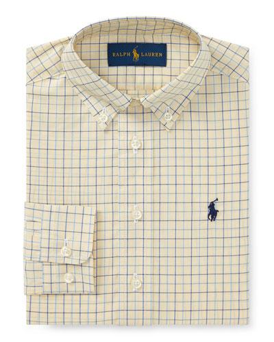 Poplin Tattersall Collared Dress Shirt, Size 2-3