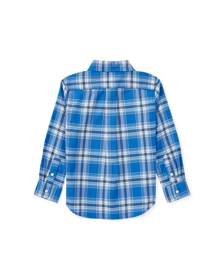 Oxford Performance Plaid Dress Shirt, Blue, Size 5-7