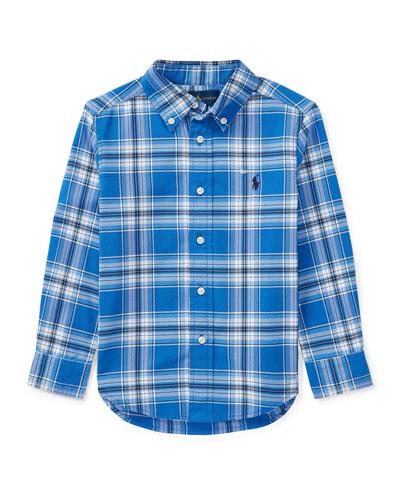 Oxford Performance Plaid Dress Shirt, Blue, Size 5-7