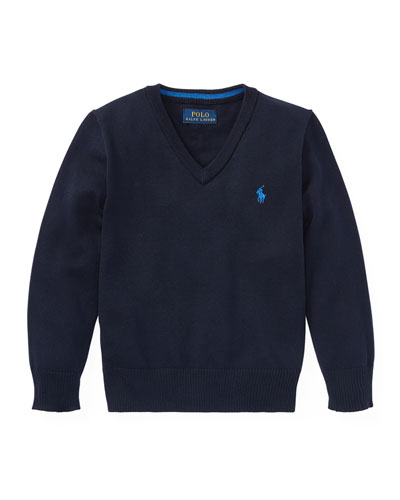 Long-Sleeve V-Neck Knit Sweater, Blue, Size 5-7