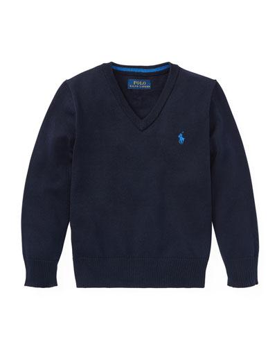 Long-Sleeve V-Neck Knit Sweater, Blue, Size 2-4