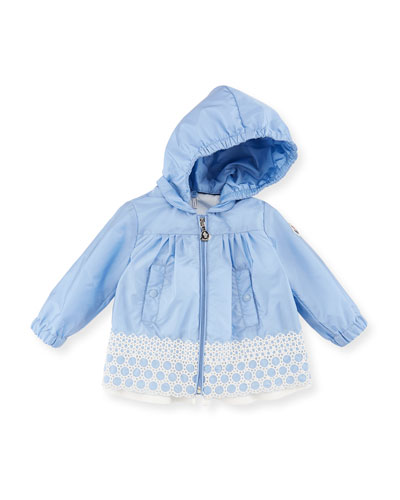 Amata Jacket w/ Contrast Embroidered Hem, Size 3M-3Y