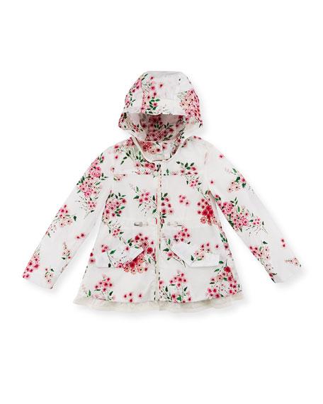 Lotus Imprime Floral-Print Wind-Resistant Jacket, Size 8-14