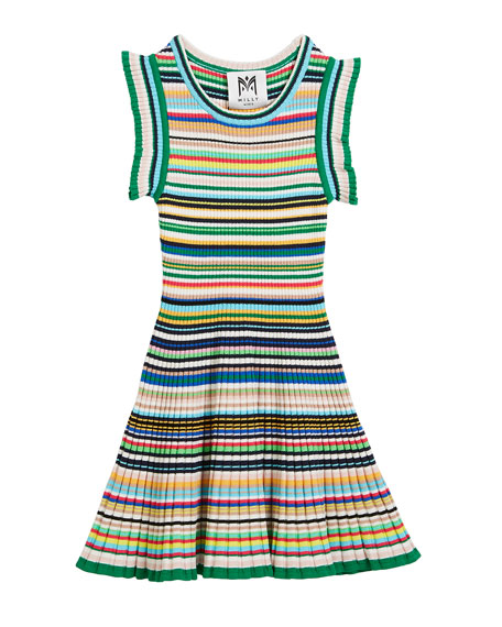 Image 1 of 1: Micro-Stripe Flare Dress, Size 8-14